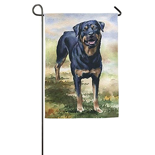 momnn Personalized Rottweiler Dog Animal Season Home Yard House Garden Flags All-Weather Polyester Banners 12x18 inches -