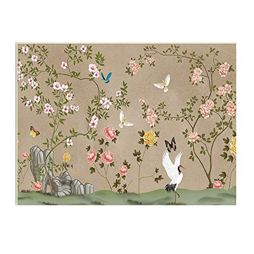 Square Modern Soft Flannel Gray China Style Flower Bird Butterfly Butterfly Rug, Anti Slip Underlay Carpet for Hard Floors Livingroom Bedroom Bedroom Baby Kids Playmat (Multi-Size),60×90cm