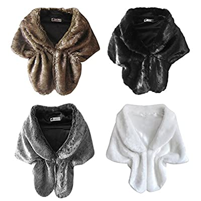 Allouli Women's Ladies Faux Fur Warm Scarf Wrap Cape Stole Shawl Jacket Coat Shrug Dress Shawl for Winter Weddings Party