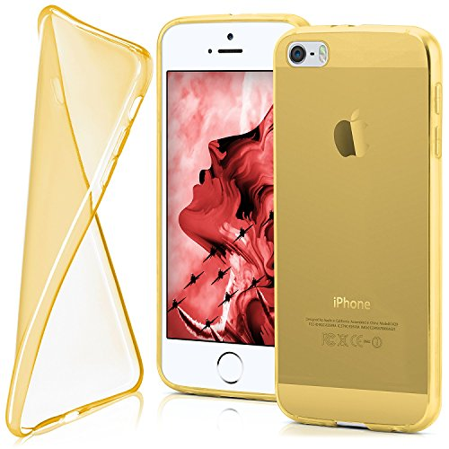 iPhone 5S Hülle Silikon Transparent Grün [OneFlow Clear Back-Cover] TPU Schutzhülle Dünn Handyhülle für iPhone 5/5S/SE Case Ultra-Slim Silikonhülle Rückseite CHROME-GOLD