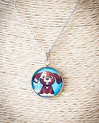 Collier enfant, pendentif petit chien toutou marron, chaîne acier inoxydable argent