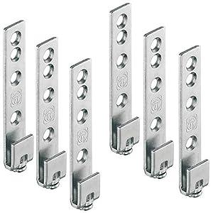 Gedotec Schrankaufhänger Metall Schrankaufhängung Küche sichtbar für Wandschiene Oberschrank | Stahl verzinkt | Tragkraft: 120 kg | 6 Stück - Aufhänger für Hänge-Schiene zum Schrauben