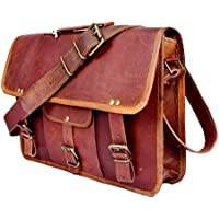 acced6348ba33 Sankalp Leather Echtes Ziegenleder Vintage Braune Umhängetasche Schultasche  Leder Laptoptasche
