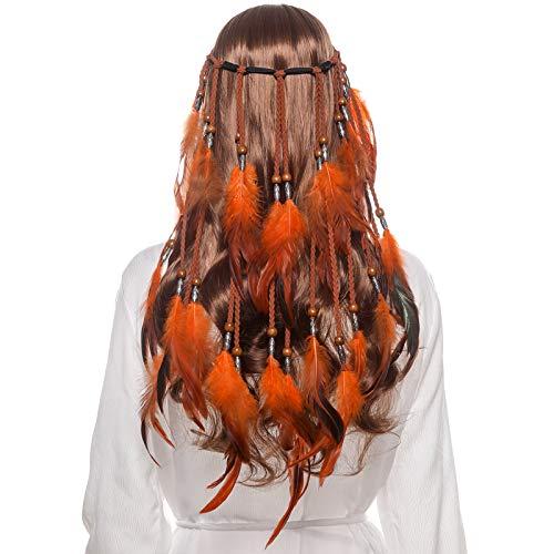 Ideen Kostüm Für Gute Ein Hippie - AWAYTR Feder Kopfschmuck Boho Hippie Stirnband - Fancy Federschmuck Böhmische Kopfbedeckung Quaste für Damen Mädchen Karneval Kopfschmuck (Orange - 1)