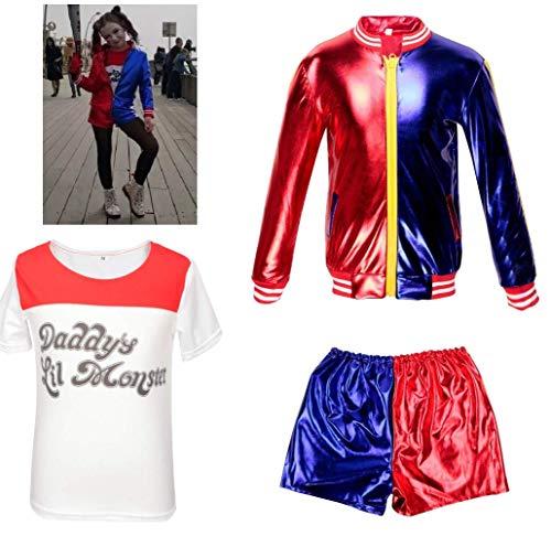 Ropa de Las Muchachas de los niños Suicide Squad Harley Quinn FancyDress Cosplay Conjunto de Traje de Traje Pantalones Cortos Conjunto de Camiseta Rojo (3-4 Years(100cm-110cm Child))