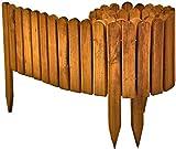 Floranica Bordura Rollborder Recinto in Legno, srotolatile della Lunghezza di 203 cm, dei paletti, Come recinto aiuole, Giardini, steccato, palizzata - impregnato, Colore:Marrone, Altezza:20 cm