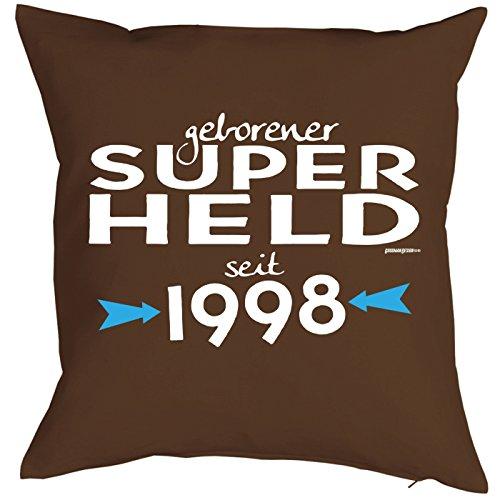 Mega-Shirt zum 21 Geburtstag Geschenkidee Kissen mit Füllung geborener Super Held seit 1998 Polster zum 21. Geburtstag für 21-jähirge ()