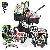 3 количка 1, 10 количка комплект: алуминиева рамка, въртящи се предни колела, 2 в 1 вана, детска седалка, покривало за баня, мрежа против комари, дъждобран, чанта за пелена, бебе цвете IVY