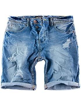 Merish Jeans Shorts kurze Jeans Chino Short`s kurze Hose Used-Look Destroyed Cargo Short 3011
