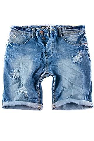 Merish Jeans Shorts kurze Jeans Chino Short`s kurze Hose Used-Look Destroyed Cargo Short 3011 Blau