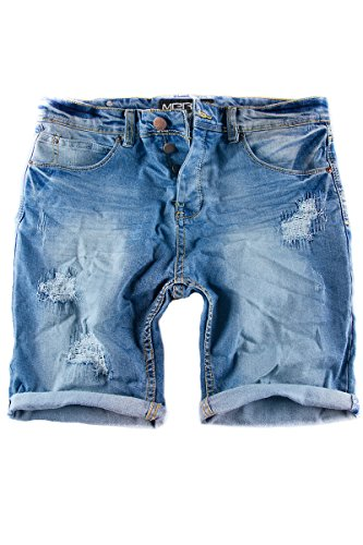 Merish Jeans Shorts kurze Jeans Chino Short`s kurze Hose Used-Look Destroyed Cargo Short 3011 Blau W36