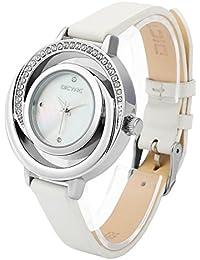Dictac Reloj de Pulsera Mujer de Cuero Genuino Forma de Concha con Diamantes (Blanco)