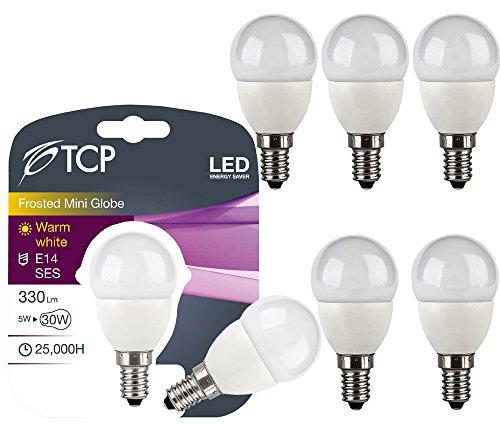 TCP/E14/SES LED-Glühbirnen, kugelförmig, klein, 5W, ersetzt 30–40W, 330Lumen, 3000K Warmweiß, 230° Abstrahlwinkel, 6 Stück