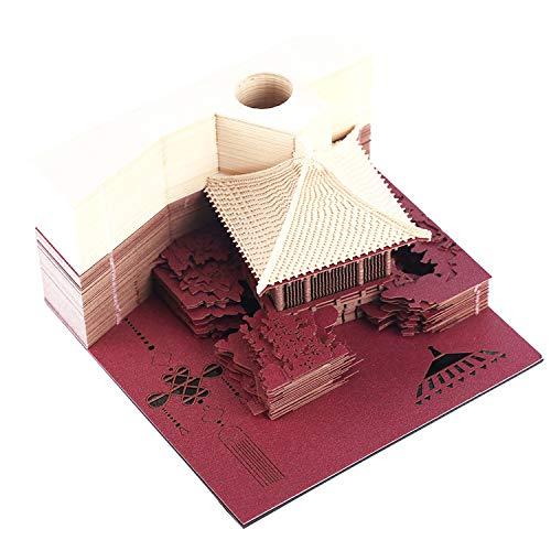 DIY Papier Kunst Baublock 3D Haftnotizen Memo Pads Bequemlichkeit Aufkleber Papier Basteln Kreative Post Notizen - Bogen Pavillon rot -