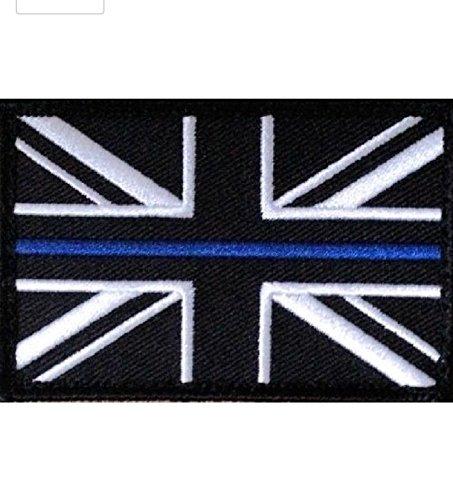 Preisvergleich Produktbild Klettverschluss Patch, Motiv: Polizei Union Jack, mit dünner blauer Linie (UK Badge Insignia) klein