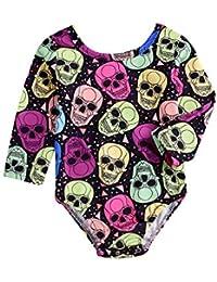 beautyjourney Body de Halloween, Body de Manga Larga con Estampado de Calavera de bebé recién Nacido Mameluco Mono Mameluco para niños pequeños
