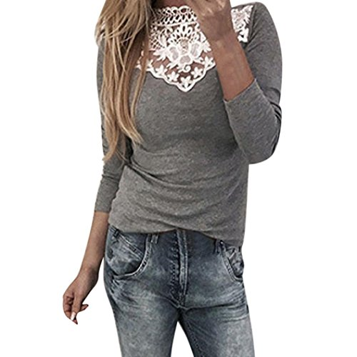 Grau Kariert Shorts (LHWY Bluse Damen Elegant, Modern Spitze Frauen Langarm Shirt t-Shirt Slim Fit O Neck Tops Sweatshirt Winter Patchwork Blusen Pullover Mode Grau Rosa (L, Grau))