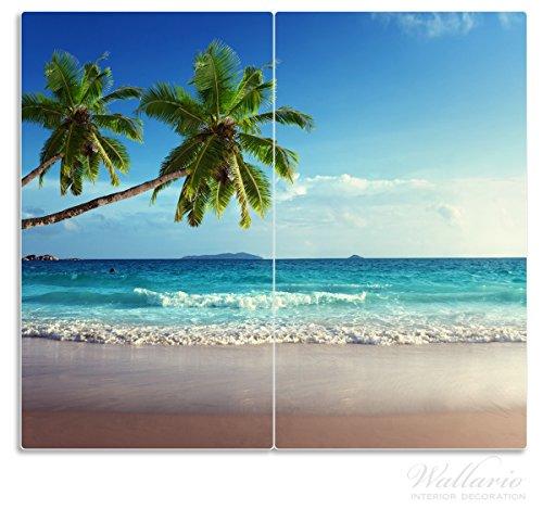 Wallario Herdabdeckplatte / Spritzschutz aus Glas, 2-teilig, 60x52cm, für Ceran- und Induktionsherde, Sandstrand auf den Seychellen - Urlaub unter Palmen