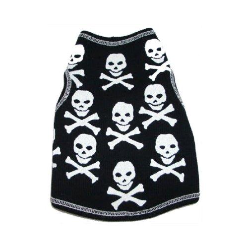 I See Spot der Hund Pet Baumwolle T-Shirt Tank, Skull Print, XS, schwarz (Spot Tank Print)