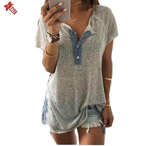 Yanhoo Frauen Lose beiläufige Knopf Bluse T Shirt Tank Tops Damen Mode Plus Size Tops Damen Sommer Hemden Longblusen Strandbluse Blusen Vest Casual Stretch (L3, Grau) (Frauen Plus Kleid Shirt Size Für)