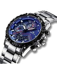 Relojes Hombre Relojes de Pulsera Militares Cronógrafo Impermeable Luminosos Lujo Azul Reloj de Acero Inoxidable Deportivo