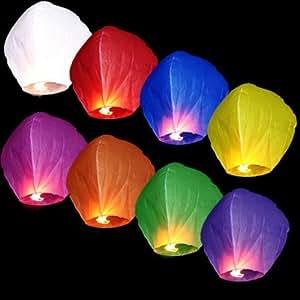 Lot de 70 Lanternes volantes chinoise thaïlandaise céleste biodégradable colorées multicolore ballon à air chaud Skylantern romantique