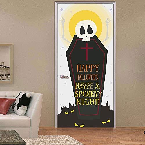 (XIAOXINYUAN 3D Tür Aufkleber Halloween Grabstein Wallpaper Abnehmbare DIY Selbstklebende Wandbilder Für Wand Aufkleber Home Tür Einrichtung)