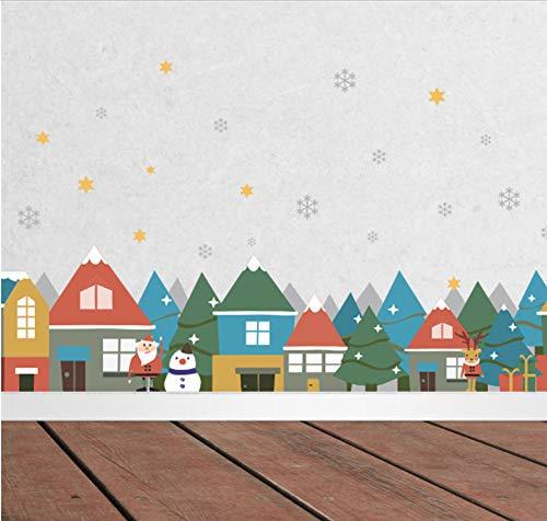 chten Winter Schnee Stadt Haus Wandaufkleber Abziehbilder Fenster Party Dekoration Neujahr Wohnkultur Poster ()