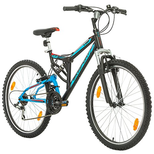 Fahrrad MTB Mountainbike Fully Full Suspension 26 Zoll Bikesport PARALLAX Shimano 18 Gang (Schwarz Blau)