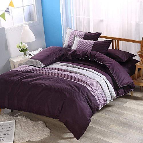 MWPO Bettbezug-Sets Gestreifter Druck Schlafzimmer mit Doppelbett Atmungsaktiv Komfort Doppelzimmer Wendbar mit Reißverschluss Polyester Bettwäsche Set Bettbezug 200x229cm Kissenbezug 50x75cm \u0 -