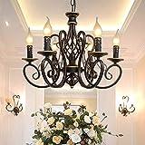 ZSAIMD Lampadario a sospensione for illuminazione a sospensione for sala da pranzo, lampadario a candela in fattoria, lampadari rustici in ferro battuto a 6 luci, 6 prese for candelabri E14