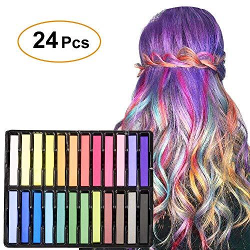 WloveTravel 24 Stück Temporäre Haarkreide Set Rainbow Color Dye Pastell Kit für Mädchen Kinder