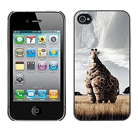 Qstar Art & Design plastique dur Coque de protection rigide pour Cas Case pour Apple iPhone 4 / iPhone 4S / 4S ( Giraffe Art Savannah Safari Art Africa Animal)