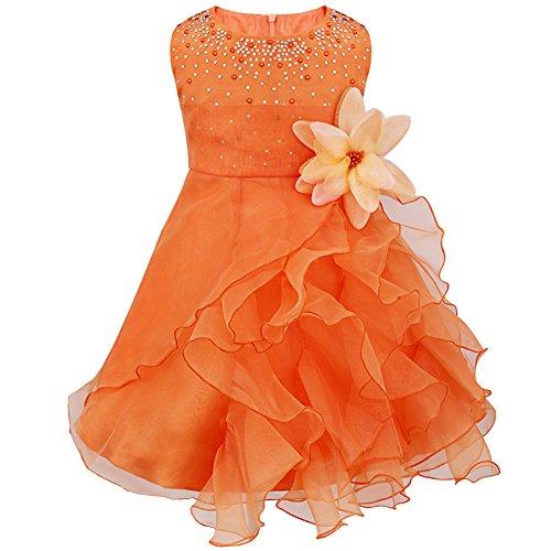 Tiaobug Baby Mädchen Kleid Prinzessin Hochzeit Taufkleid Blumenmädchen Festlich Kleid Kleinkind Festzug Kleidung Orange 62-68 (Herstellergröße: 60)