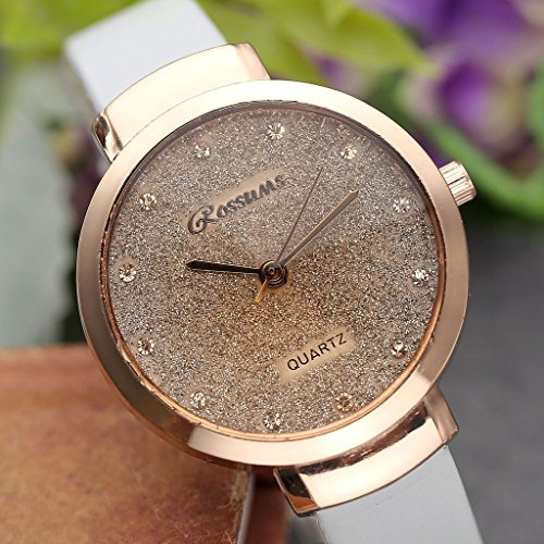 JSDDE Uhren,Elegante Damen Armbanduhr Braunglas Glitzer Dial XS Slim PU Leder-Band Ladies Dress Analog Quarzuhr,Weiss - 4