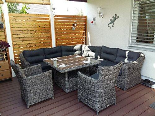 Poly Rattan Speiselounge Husum Für 6 Personen Gartenmöbel Set Lounge Eckbank  ...
