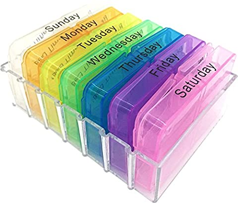 HertHt 7 Tagen Pillenbox Pillendose Tablettendose Regenbogen Tablettenbox Vitamin Aufbewahrungsbox