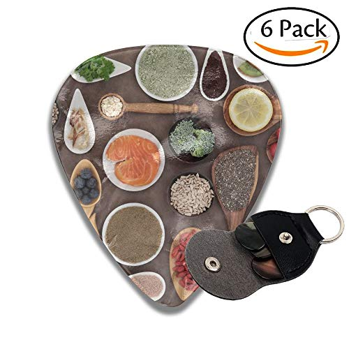 Body Building And Super Health Food Selection With Supplement Powders In Bowls And Spoons Over Stylish Celluloid Guitar Picks Plectrums For Guitar Bass 6 Pack.71mm -