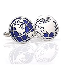 TBOP CUFFLINKS THE BEST OF PLANET Simple And Stylish Cufflinks For Unisex Round Men's Earth Map Shirt Cufflinks...