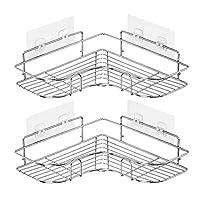2PCS Corner Shower Caddy Adhesive Bathroom Stainless Steel Shelves Floating Shelves for Kitchen,Bathroom Organizer,Decor