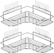 2PCS Corner Shower Caddy Adhesive Bathroom Stainless Steel Shelves Floating Shelves for Kitchen,Bathroom Organ