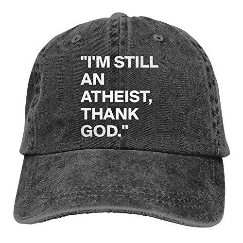 WEMAO Baseballmütze Gott Sei Dank, Ich Bin EIN Atheist Cap Schwarz Unisex Herren Damen Denim Strapback Baseball Cap Verstellbare Golf Dad Hut Schwarz
