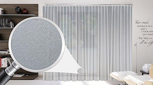SUNWORLD Maßgeschneiderte weiße Dreher Sablé Store Gardine, inklusive Blei und Automatik Faltenband 1:2,5, 3er Falte, Gardinen nach Maß, Vorhang nach Maß, Höhe 90 – 295 cm(170 x 800 cm/HxB)