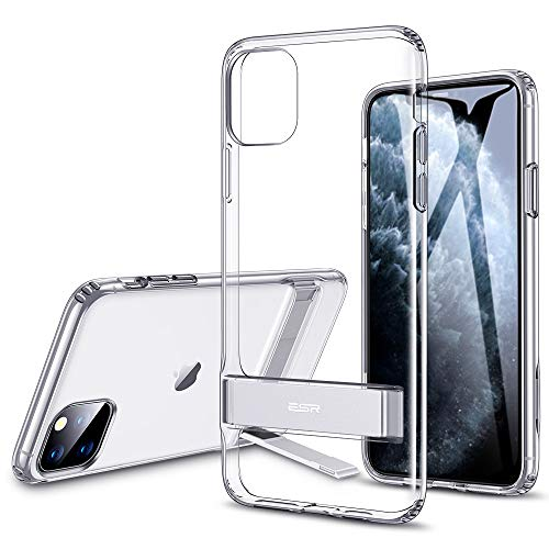 "ESR Coque pour iPhone 11 Pro Max Transparente, Coque Silicone avec Support Béquille Métal Multi-Angles, Protection Double Couche Multi-Fonctionnel pour iPhone 11 Pro Max (2019) 6,5"" (Transparent)"