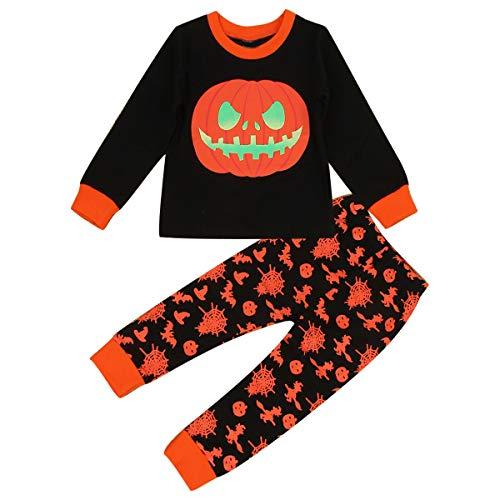 Kleine Mädchen Jungen Holloween Kleidung Set Pimpkin Langarm-Shirt + Leggings (Color : Orange+Black, Size : 3-4T)