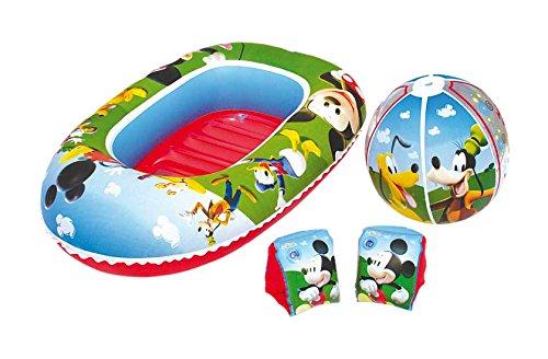 La Casa de Mickey Mouse- Mickey Set de Playa Barca Pelota Manguitos, 56 x 28 x 8,5 cm (Bestway 91017)