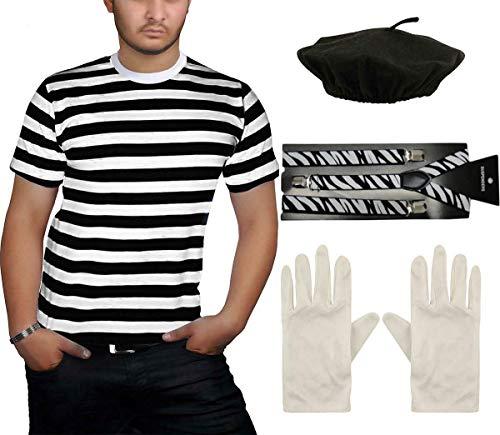 Erwachsene Für Kostüm Mime - Style Wise Fashion French Mime Kostüm für Erwachsene, Schwarz/Weiß gestreift