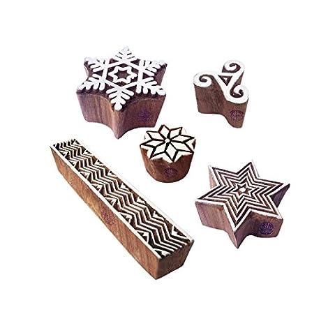 Jaipuri Designs Schneeflocke und Geometrisch Hölzern Drucken Stempel (Set von