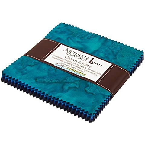 Lunn Studios PRISMA DYES OPEN WATERS BATIKS Precut 5-inch Charm Pack Cotton Fabric Quilting Squares Assortment Robert Kaufman CHS-267-42 by Robert Kaufman Fabrics