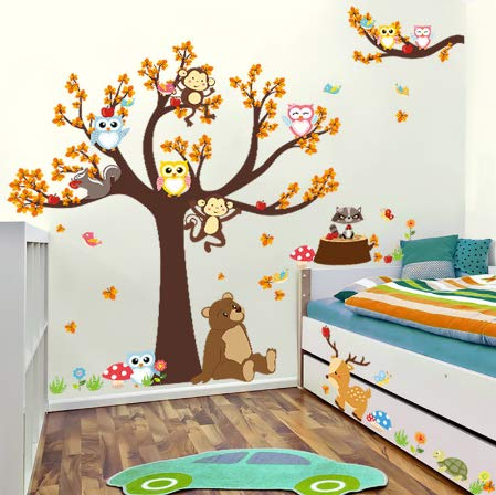 5d80abe7a2 Removable tree owl wall decals kids bedroom baby nursery stickers art room  decor searched at the best price in all stores Amazon